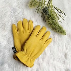 Thinsulate Yellow Leather Cold Weather Gloves